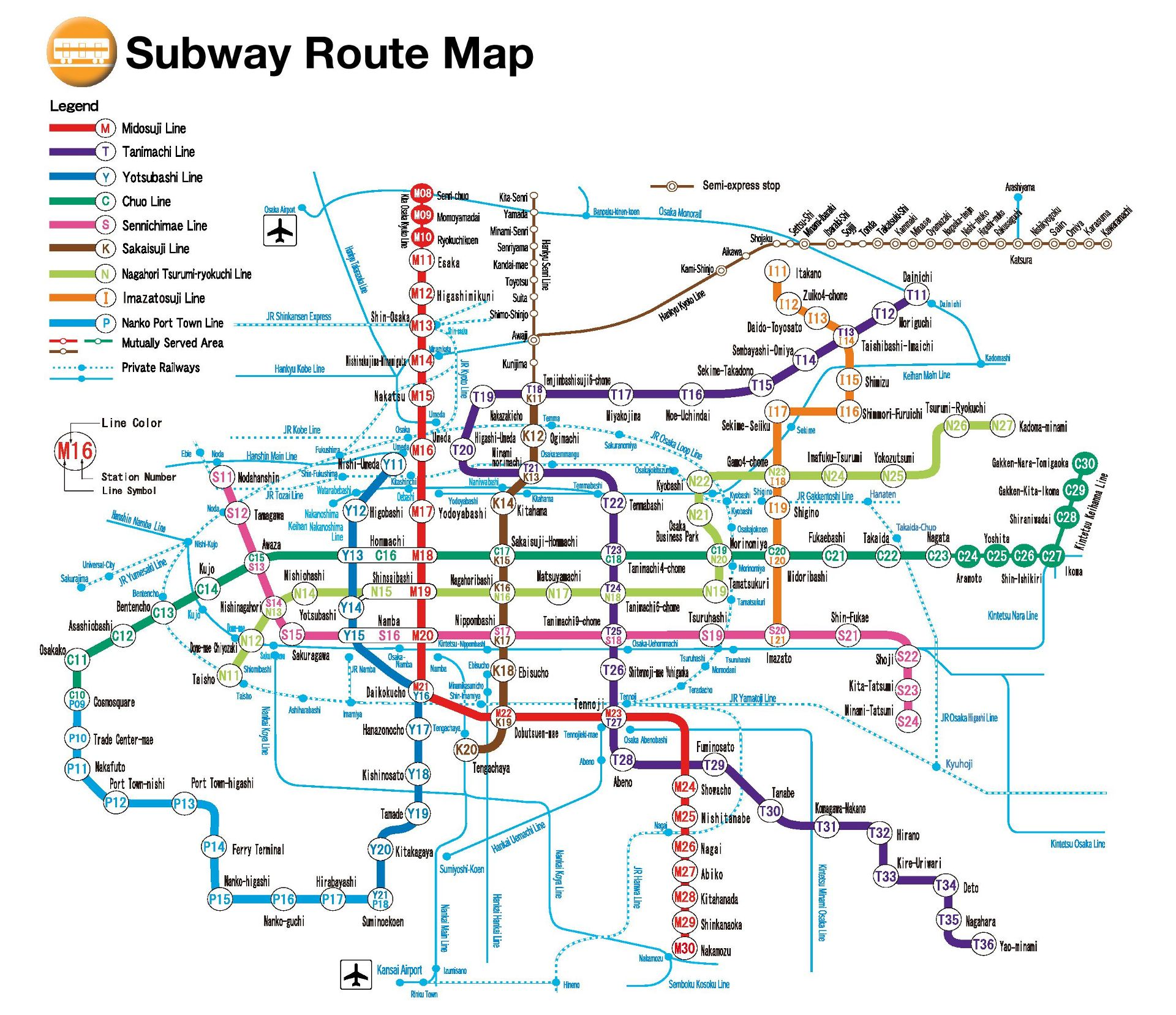 Osaka Subway Route Map