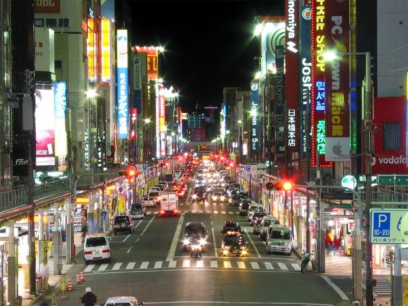 view of nipponbashi main street at night osaka