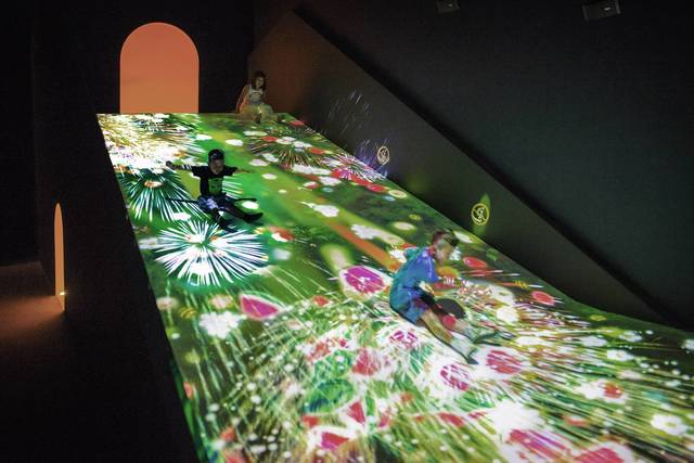 Digital Art Museum Teamlab Borderless, Sliding Through The Fruit Field