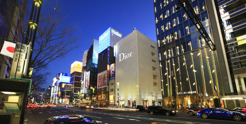 ginza flagship stores at night