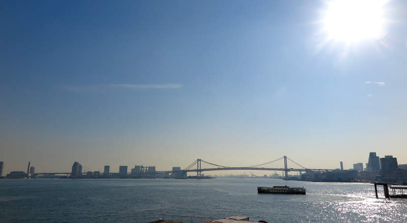 tokyo bay view from takeshiba pier