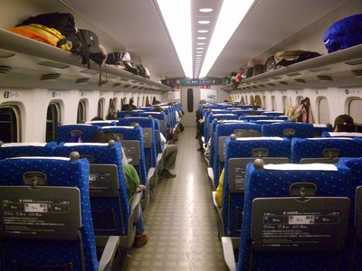 inside a shinkansen train